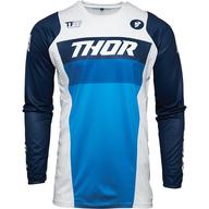 Dětský dres Thor Pulse Racer - Bílá/Modrá/Černá