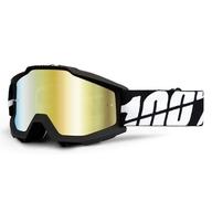 Motokrosové brýle 100%. Model Accuri Tornado. Černé, zlaté chrom. plexi + náhradní čiré